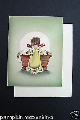 #E287- Vintage Unused Norcross Xmas Greeting Card Angel Praying over Baby Jesus