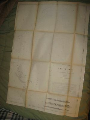 Huge Important Rare Antique 1854 Tokyo Japan Commodore Perry Maritime Chart Map