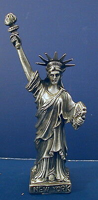"Souvenir Metal Building Statue of Liberty Nickel Plated 4.5"" tall"