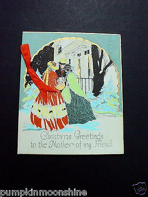 Vintage 1900's Xmas Greeting Card Hand Colored Victorian Family & Silk Ribbon
