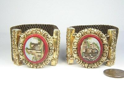 SUPERB QUALITY PAIR ANTIQUE 15K GOLD MICROMOSAIC WOVEN HAIR BRACELETS c1840