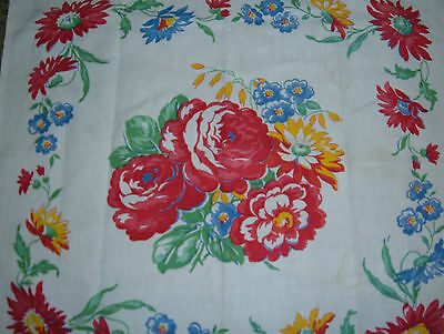 VINTAGE PILLOW SHAM RED MUM DAISY PRETTY MADE FROM TABLECLOTH