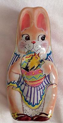 COLLECTIBLE Large TIN EASTER Bunny Girl Painted Flowers CANDY CONTAINER  VINTAGE