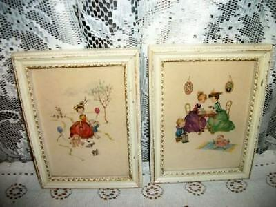PRECIOUS VINTAGE CHIC LITTLE GIRLS AT PLAY PRINTS CHIPPY SHABBY COTTAGE
