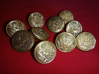 Mixed Lot Of 10 US Army Metal Buttons *Removed From Shirts*