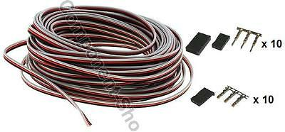 5m Futaba light weight servo wire 26awg & 10 pairs connectors - UK