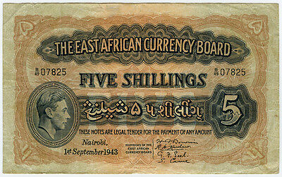 EAST AFRICA BRITISH 1943 KING GEORGE VI 5 SHILLINGS,SCARCE & CRISP VF.PICK#26A.