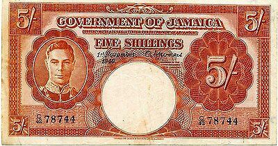 1940 Government of Jamaica 5 Shillings Note P37a #27184