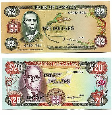 Lot of 2 1989 and 1990 Bank of Jamaica 2 and 20 Dollar Notes P60a & P72c
