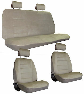 Tan Beige Quilted Velour Encore Car Seat Covers & Head Rest Covers sc-1122-bg-1