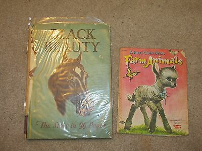 W14 Vintage Lot of 2 Books Black Beauty 1934 Farm Animals Cloth Book 1956