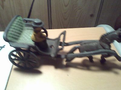 CAST IRON VINTAGE HORSE BUGGY AND LADY FIGURE 7 1/2''