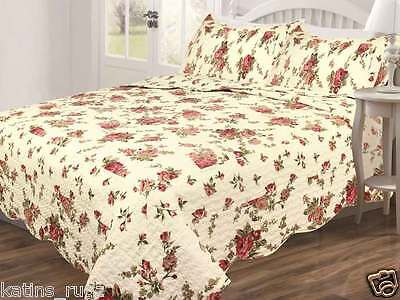 Floral 100%  Polyester Bedspread Quilt 3pc Queen Size With Burgundy & Pink Rosas