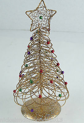 "Small Gold Wire 10"" Christmas Tree Sparkles & Multicolored Balls w/ Star"