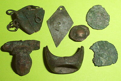 Ancient ROMAN ARTIFACTS fibula brooch coins ring silver jewelry old lot antique