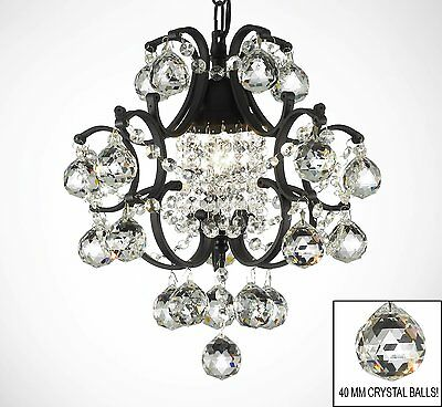 Wrought Iron Mini Crystal Chandelier Chandeliers Lighting W/ Crystal Balls!