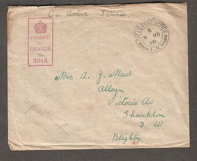 WWI UK censor cover 1st Canadian Brigade Field PO IX to Shanklin Isle Of Wight