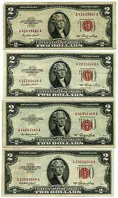 Lot of 8 1953 U.S. $2 Dollar Red Seal United States Notes #41930