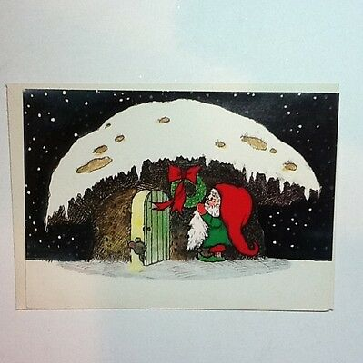 Vintage Unused Norcross Xmas Greeting Card Sweet Gnome Home During The Holidays