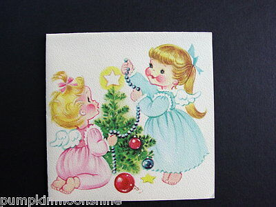 Vintage Unused Norcross Xmas Greeting Card Sweet Little Angels Decorating Tree