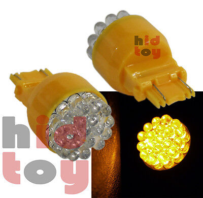 3157 3157A 3457 Amber Yellow Round 19 LED 2Pc Bulbs #1ue For Parking Au23 Light