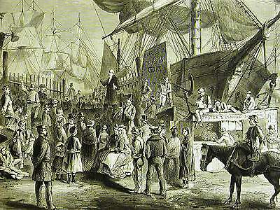 Reinhart PREACHING on the NEW YORK DOCKS OYSTERS SAIL BOATS 1871 Print Matted