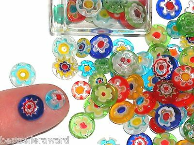 12pc Tiny Miniature Glass Moon Pebble circle MIX Gems flatbacks millefiori stone