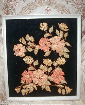 Antique Victorian SILK French Knots Embroidery Flowers on Velvet,Thread Painting