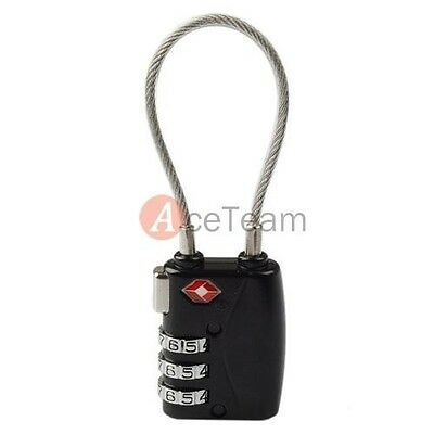 TSA 3 DIAL COMBINATION LUGGAGE TRAVEL LUGGAGE Safe Suitcase BAG CODE LOCK cable
