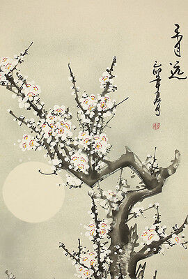 """CHINESE HANGING SCROLL """"Ume Tree and Moon""""  @e855"""