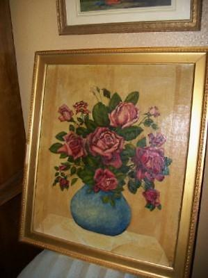 OMG CHIC VINTAGE 30s ROSES OIL PAINTING ROMANTIC SHABBY CHIPPY COTTAGE BUTTERY