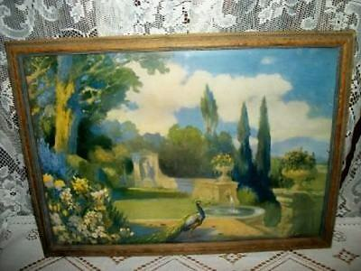 20s ART DECO CHIC PEACOCK FOUNTAIN PRINT CHIPPY SHABBY RARE COTTAGE VINTAGE