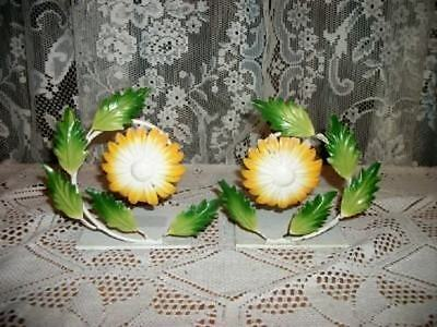 RARE CHIC VINTAGE ITALIAN TOLE FLORAL BOOKENDS SHABBY COTTAGE CHIPPY