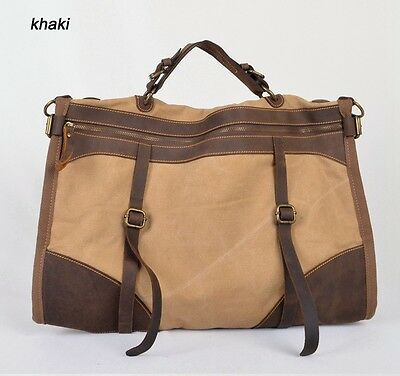 Vintage Military Canvas Leather men travel bag carry on luggage duffle bag large