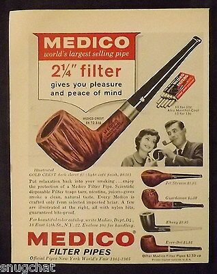 1965 Vintage Print Ad MEDICO FILTER PIPES Official Pipes NY World's Fair 1964-65