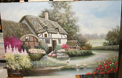 Domina Ducks On Lake Floral Cottage Large Oil On Canvas Painting