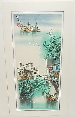Japanese Watercolor Landscape Bridge Boat Cityscape Painting Signed