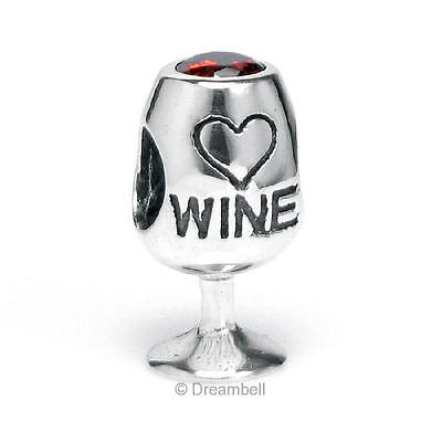 1x 925 Sterling Silver Love Wine Cup Crystal Bead For European Charm Bracelets