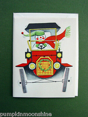 #324- Vintage Unused Norcross Xmas Greeting Card Driving Snow Santa, Adorable