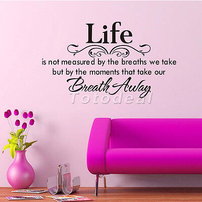 LIFE IS NOT MEASURED BY THE BREATHS WE TAKE Vinyl WALL lettering QUOTE