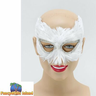 MASQUERADE WHITE CARNIVAL FEATHER EYE MASK - womens ladies fancy dress accessory