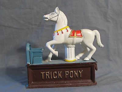 Trick Pony Carousel Horse Cast Iron Mechanical Coin Bank Working Vintage Era