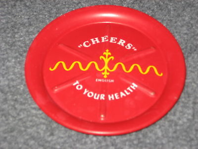 Lot of 5 Vintage Metal Coasters With Cheers in different languages
