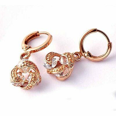 ROSE GOLD FILLED Clear CZ Whirlwind Dangle Earrings  For Girls /Womens A1932