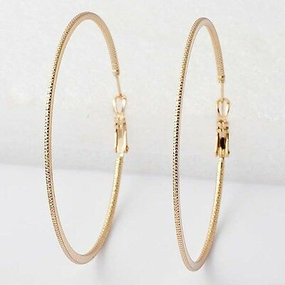 Coquettish Womens Yellow Gold Filled 58mm Big Hoop Earrings D5543