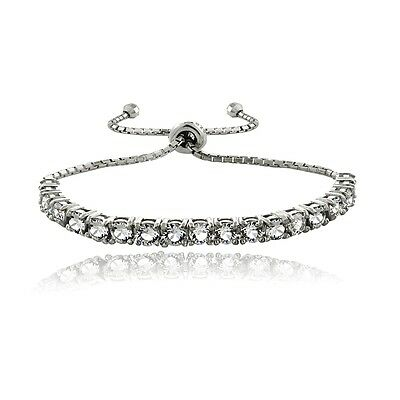 Sterling Silver Swarovski Elements Adjustable Bracelet