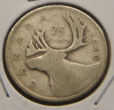 1940~~Canadian 25 Cents~~Silver~~Scarce~~Canada