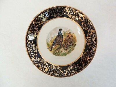 Vintage Weatherby England Royal Falcon Ware Plate.. Pheasants Black & Gold Trim