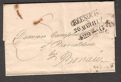 1817 folded cover Greenock to Sir Duncan Campbell Esq of Barcaldine by Bonaw