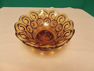 Vintage L.E. Smith Moon & Stars Pattern Amber Glass Footed Bowl - Mint Condition